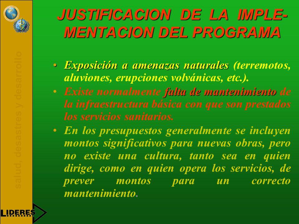 salud, desastres y desarrollo JUSTIFICACION DE LA IMPLE- MENTACION DEL PROGRAMA Exposición a amenazas naturalesExposición a amenazas naturales (terrem
