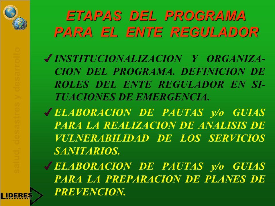 salud, desastres y desarrollo ETAPAS DEL PROGRAMA PARA EL ENTE REGULADOR 4INSTITUCIONALIZACION Y ORGANIZA- CION DEL PROGRAMA. DEFINICION DE ROLES DEL