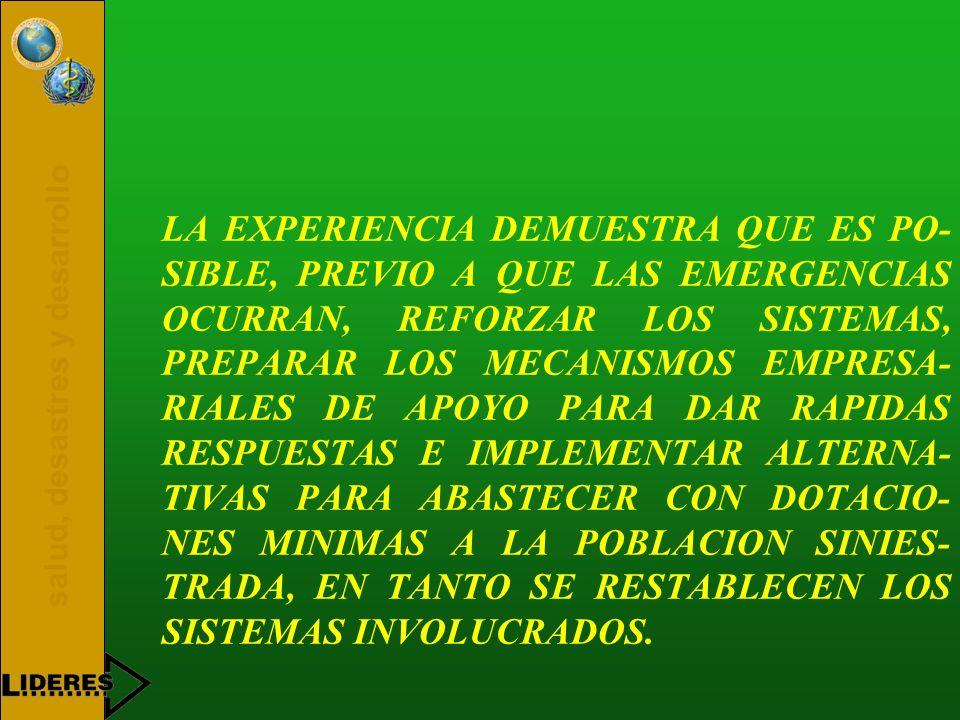 salud, desastres y desarrollo LA EXPERIENCIA DEMUESTRA QUE ES PO- SIBLE, PREVIO A QUE LAS EMERGENCIAS OCURRAN, REFORZAR LOS SISTEMAS, PREPARAR LOS MEC