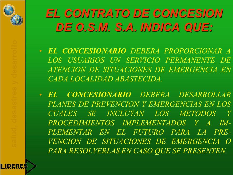 salud, desastres y desarrollo EL CONTRATO DE CONCESION DE O.S.M. S.A. INDICA QUE: EL CONCESIONARIO DEBERA PROPORCIONAR A LOS USUARIOS UN SERVICIO PERM
