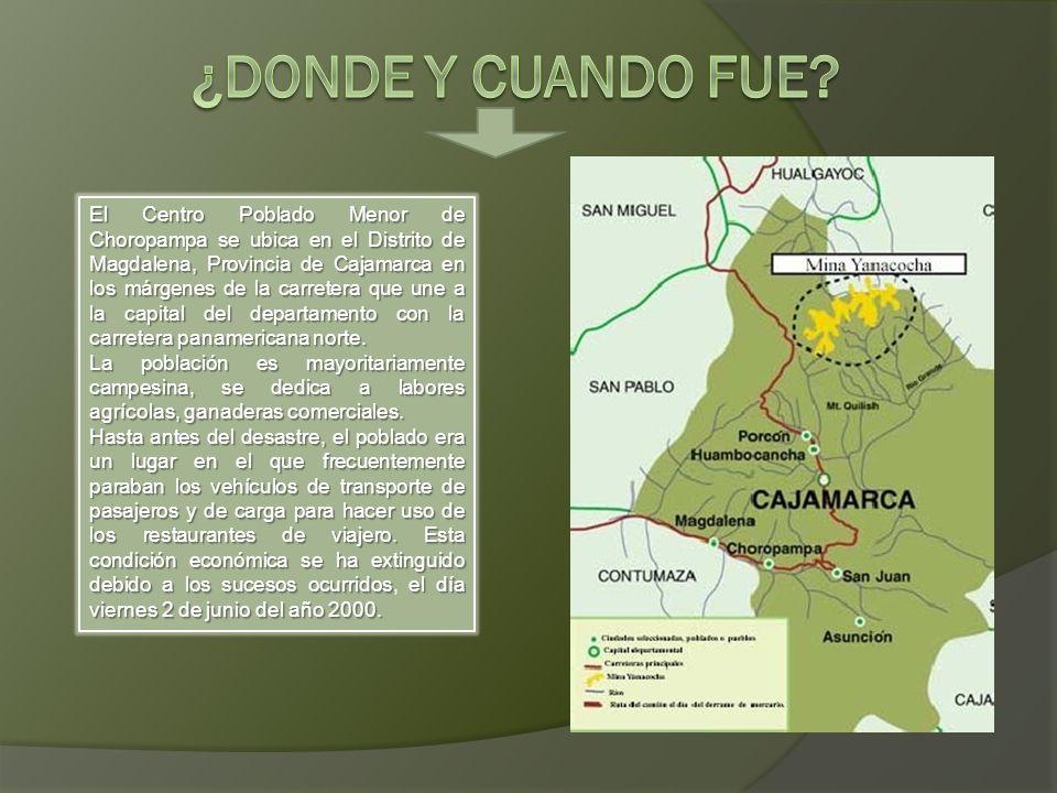 El Centro Poblado Menor de Choropampa se ubica en el Distrito de Magdalena, Provincia de Cajamarca en los márgenes de la carretera que une a la capita