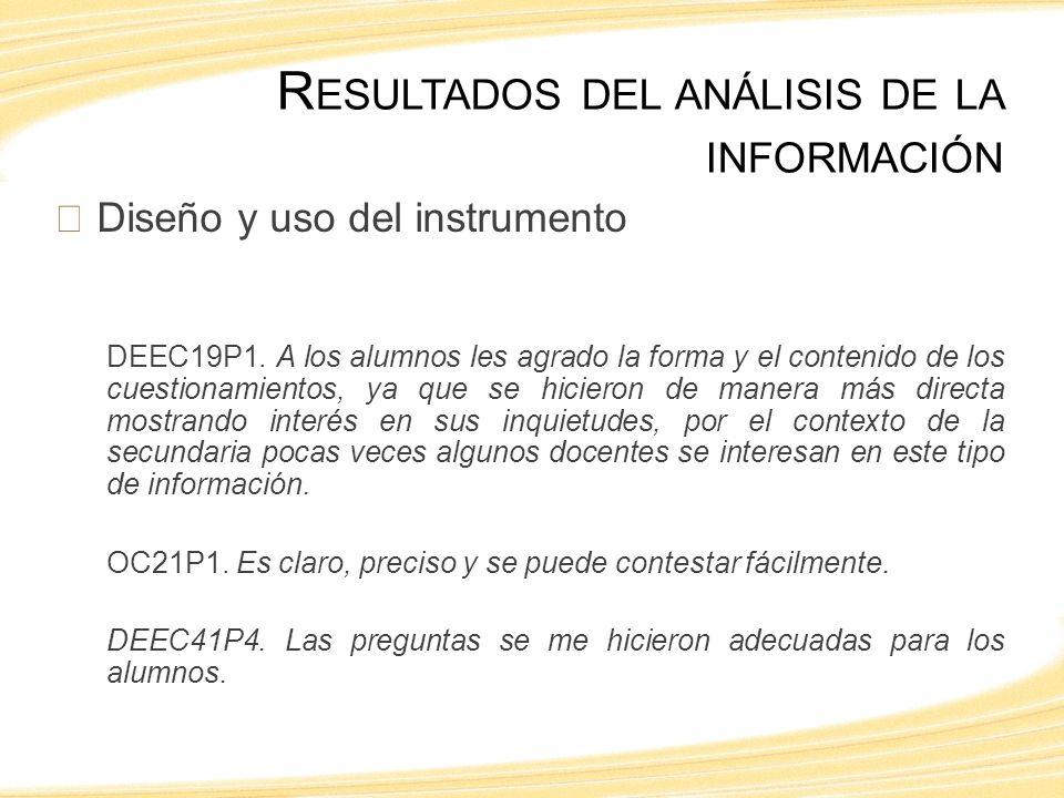 Diseño y uso del instrumento DEEC19P1.