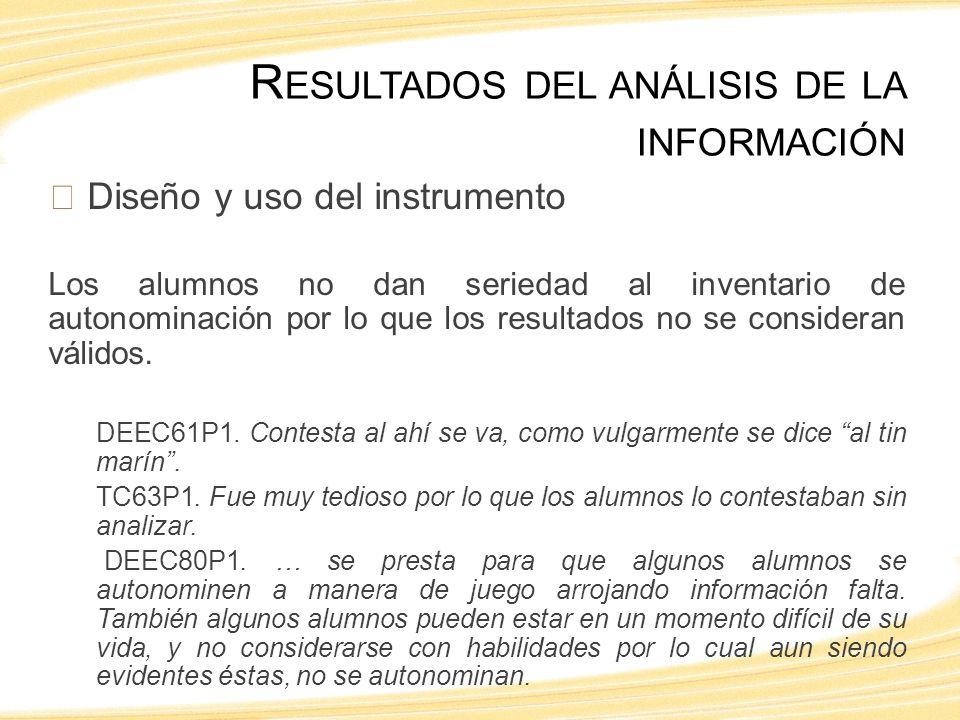 Diseño y uso del instrumento Los alumnos no dan seriedad al inventario de autonominación por lo que los resultados no se consideran válidos.