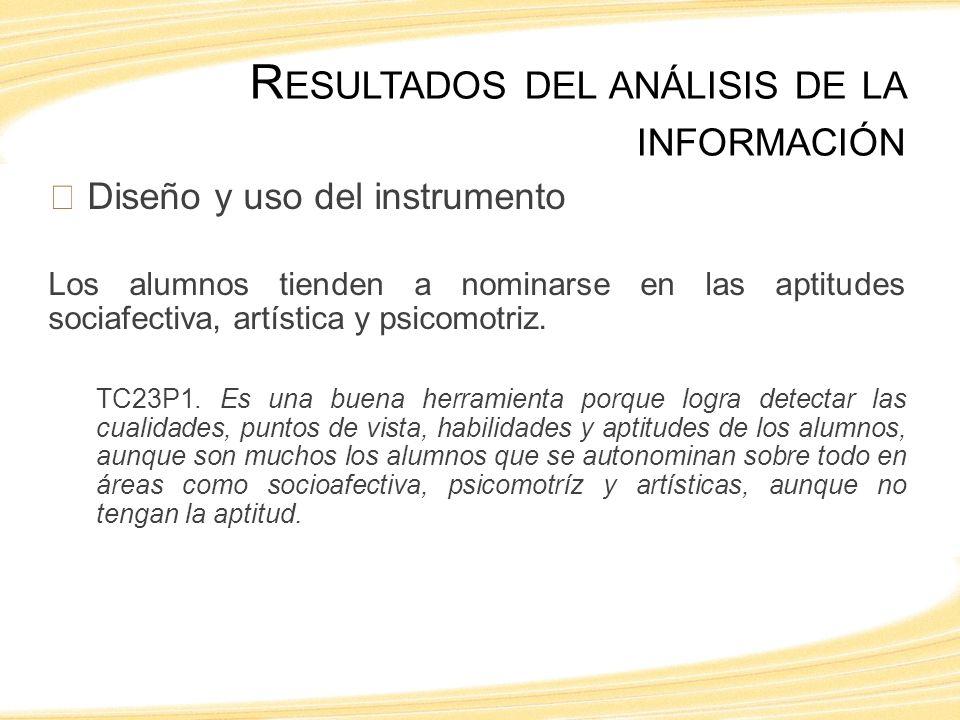 Diseño y uso del instrumento Los alumnos tienden a nominarse en las aptitudes sociafectiva, artística y psicomotriz.