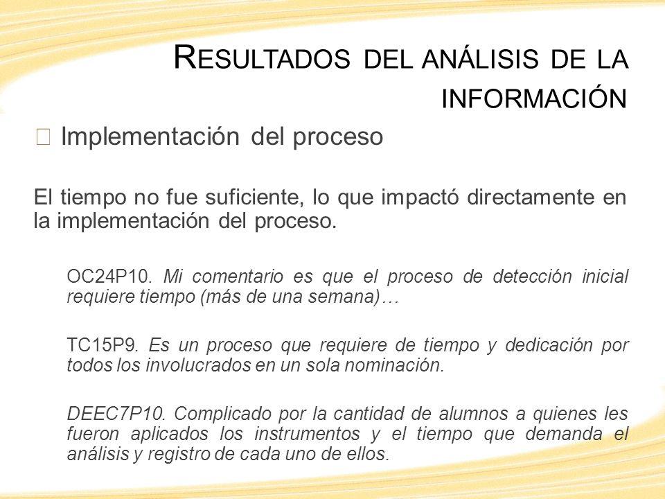Implementación del proceso El tiempo no fue suficiente, lo que impactó directamente en la implementación del proceso.