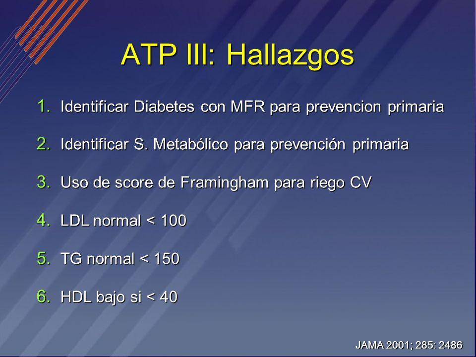ATP III: Hallazgos 1. Identificar Diabetes con MFR para prevencion primaria 2. Identificar S. Metabólico para prevención primaria 3. Uso de score de F