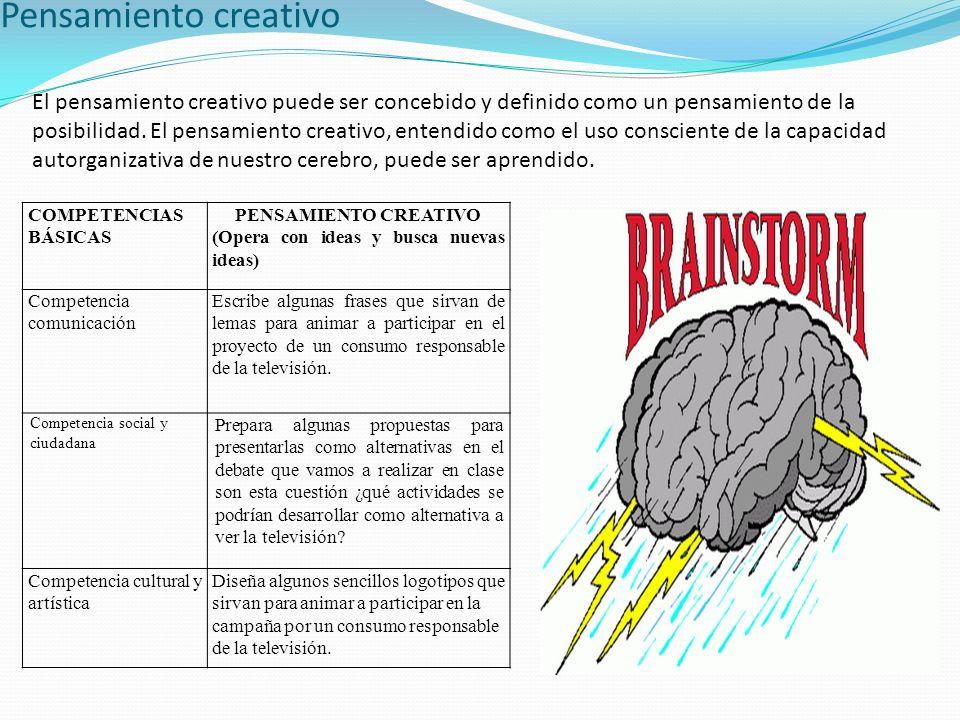 Pensamiento creativo El pensamiento creativo puede ser concebido y definido como un pensamiento de la posibilidad. El pensamiento creativo, entendido