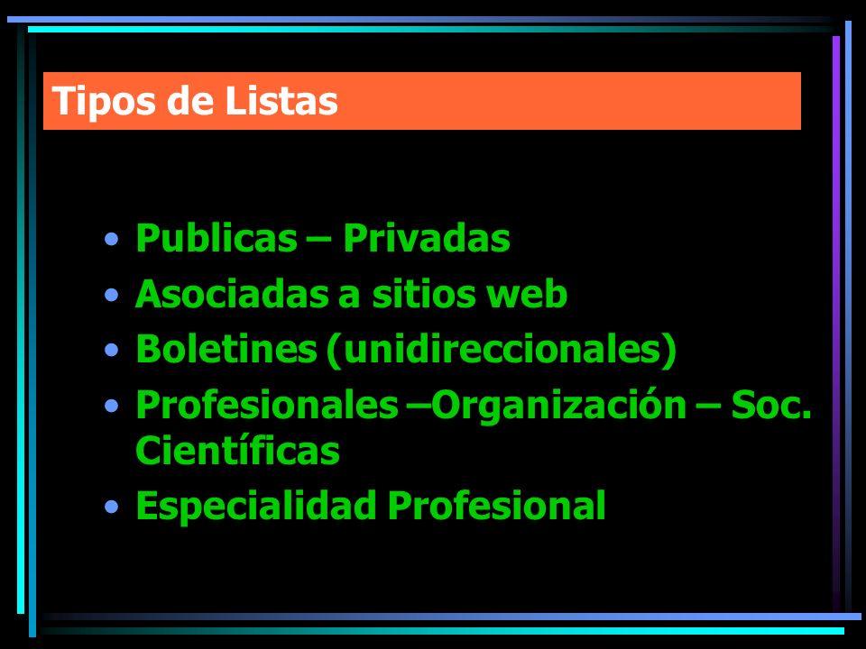 Tipos de Listas Publicas – Privadas Asociadas a sitios web Boletines (unidireccionales) Profesionales –Organización – Soc. Científicas Especialidad Pr