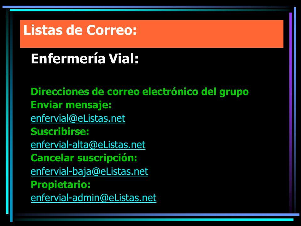 Listas de Correo: Enfermería Vial: Direcciones de correo electrónico del grupo Enviar mensaje: enfervial@eListas.net Suscribirse: enfervial-alta@eList