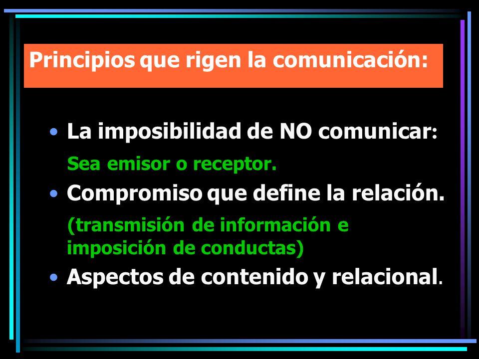 Principios que rigen la comunicación: La imposibilidad de NO comunicar : Sea emisor o receptor. Compromiso que define la relación. (transmisión de inf