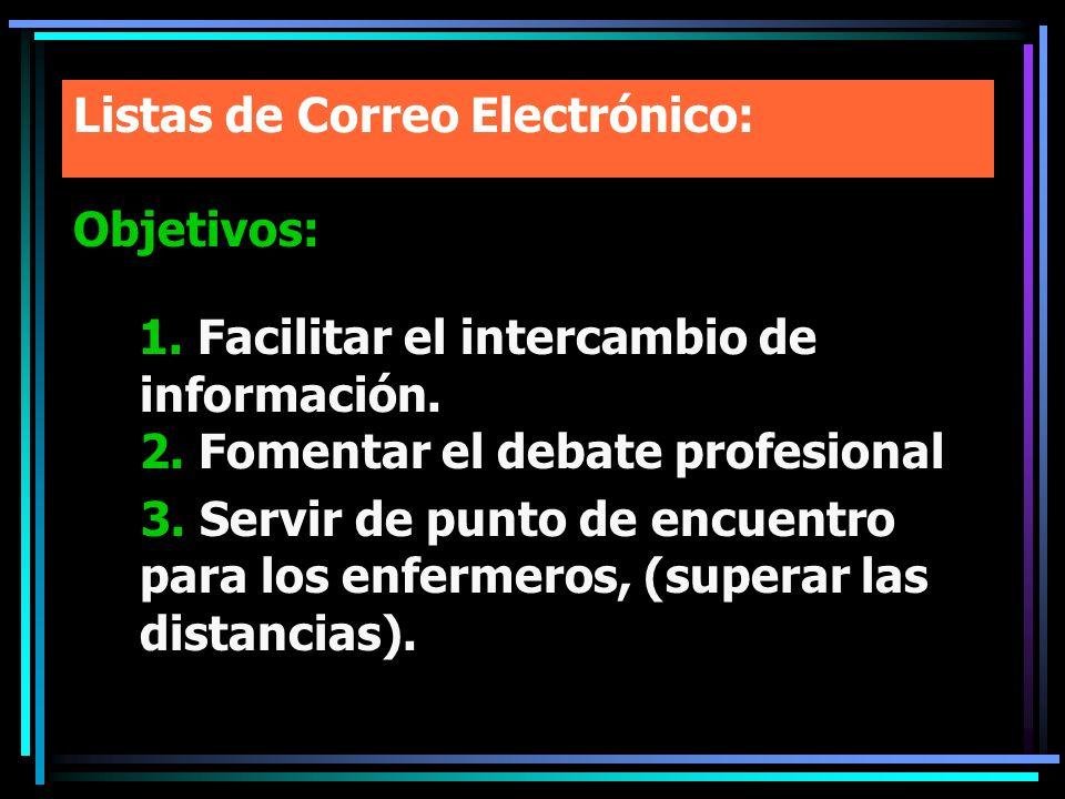 Listas de Correo Electrónico: Objetivos: 1. Facilitar el intercambio de información. 2. Fomentar el debate profesional 3. Servir de punto de encuentro