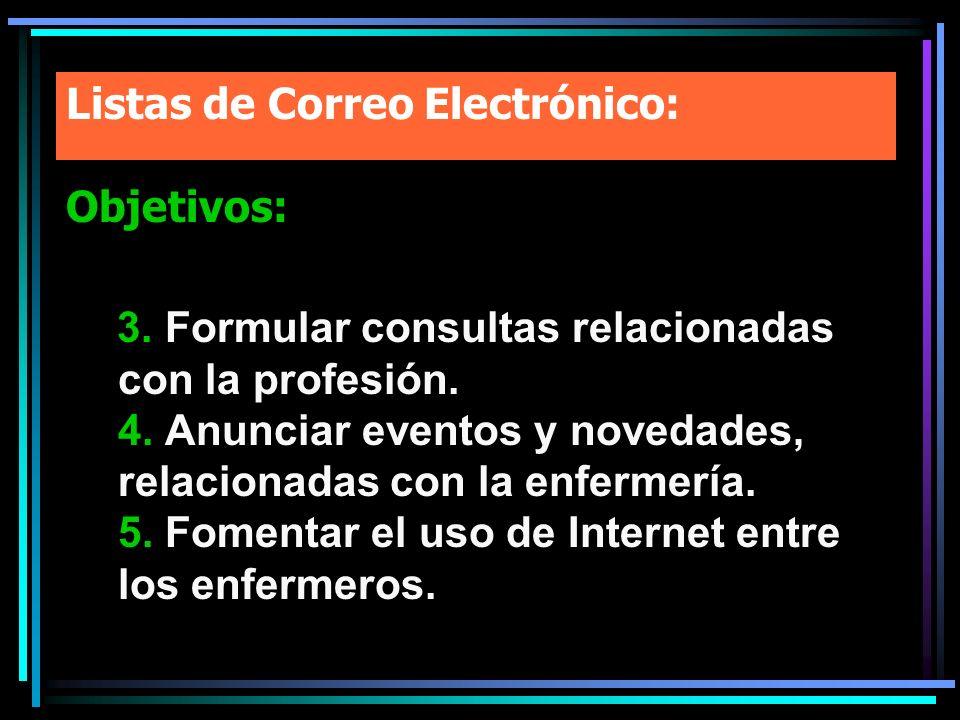 Listas de Correo Electrónico: Objetivos: 3. Formular consultas relacionadas con la profesión. 4. Anunciar eventos y novedades, relacionadas con la enf
