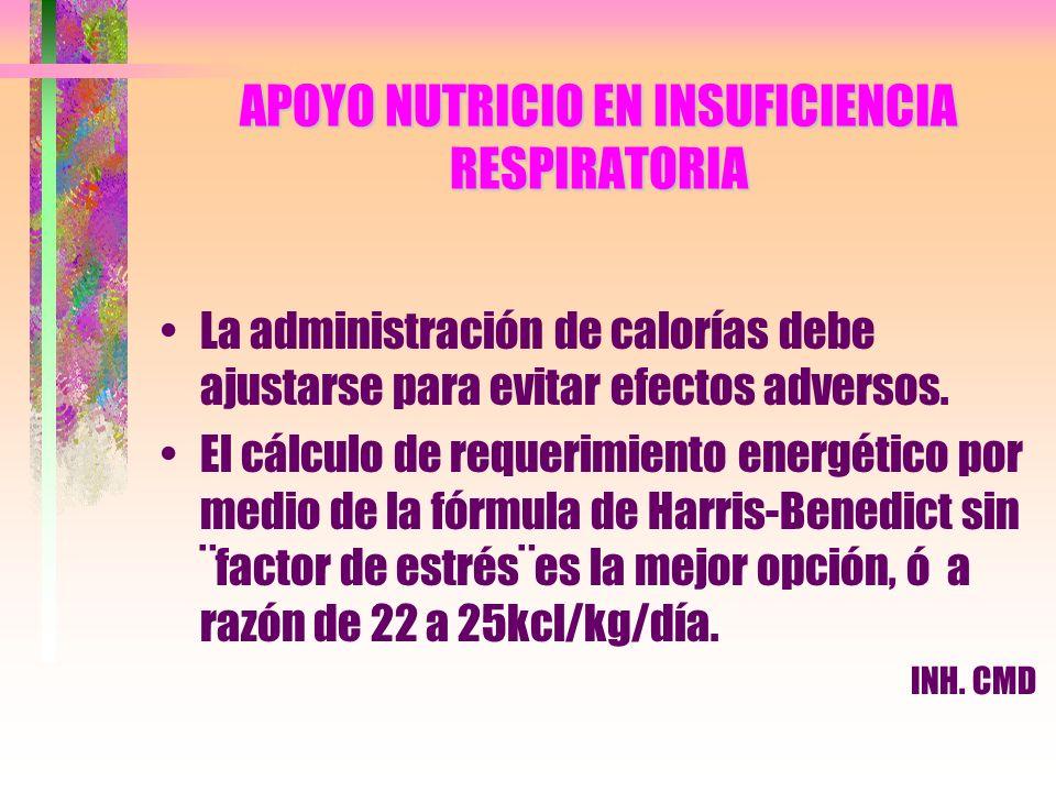 APOYO NUTRICIO EN INSUFICIENCIA RESPIRATORIA La administración de calorías debe ajustarse para evitar efectos adversos. El cálculo de requerimiento en