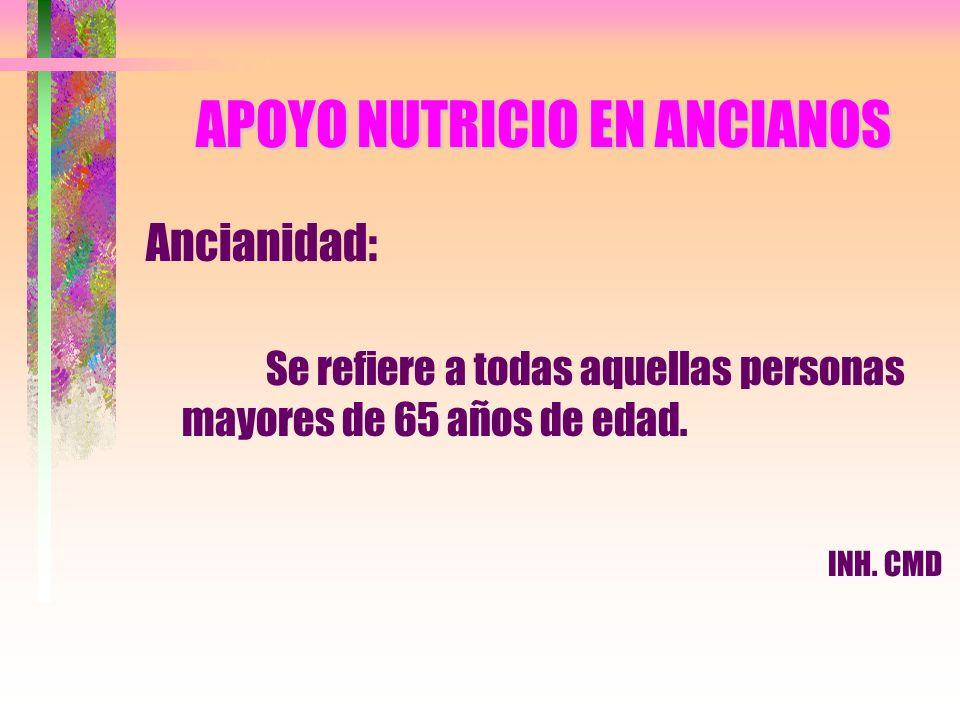 APOYO NUTRICIO EN ANCIANOS Ancianidad: Se refiere a todas aquellas personas mayores de 65 años de edad. INH. CMD