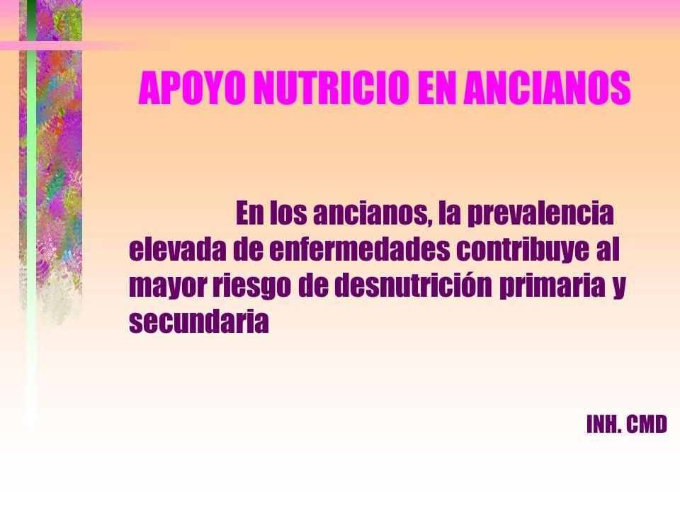 APOYO NUTRICIO EN ANCIANOS En los ancianos, la prevalencia elevada de enfermedades contribuye al mayor riesgo de desnutrición primaria y secundaria IN