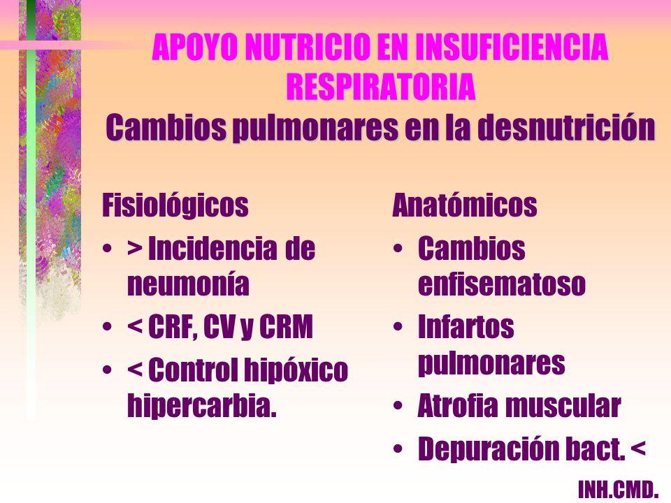 APOYO NUTRICIO EN INSUFICIENCIA RESPIRATORIA Cambios pulmonares en la desnutrición Fisiológicos > Incidencia de neumonía < CRF, CV y CRM < Control hip