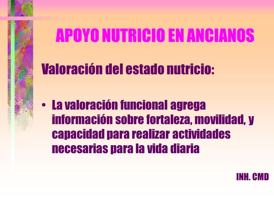 APOYO NUTRICIO EN ANCIANOS Valoración del estado nutricio: La valoración funcional agrega información sobre fortaleza, movilidad, y capacidad para rea