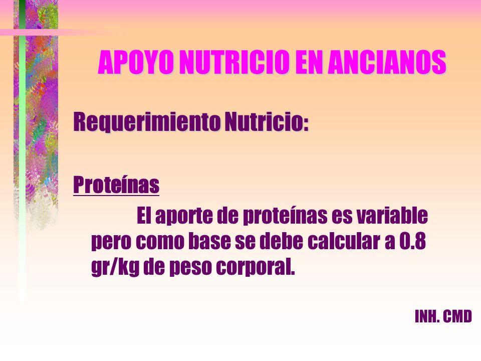 APOYO NUTRICIO EN ANCIANOS Requerimiento Nutricio: Proteínas El aporte de proteínas es variable pero como base se debe calcular a 0.8 gr/kg de peso co