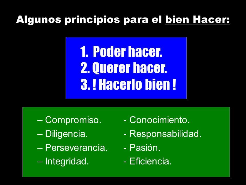 –Compromiso.- Conocimiento. –Diligencia.- Responsabilidad. –Perseverancia.- Pasión. –Integridad.- Eficiencia. Algunos principios para el bien Hacer: 1