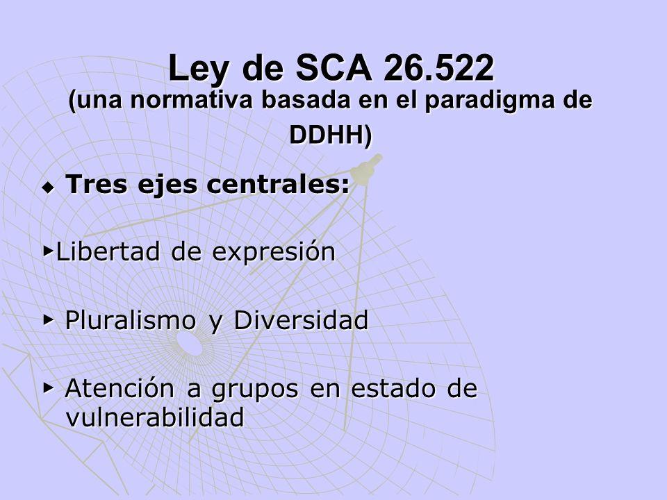 Ley de SCA 26.522 (una normativa basada en el paradigma de DDHH) Tres ejes centrales: Tres ejes centrales: Libertad de expresión Libertad de expresión