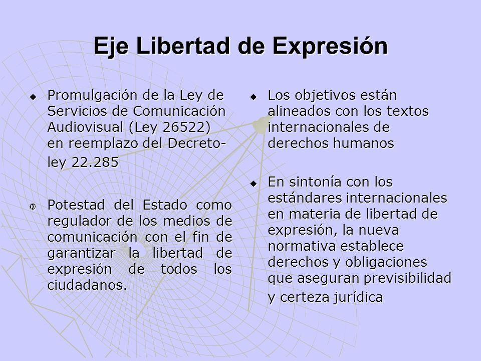 Eje Libertad de Expresión Promulgación de la Ley de Servicios de Comunicación Audiovisual (Ley 26522) en reemplazo del Decreto- ley 22.285 Promulgació