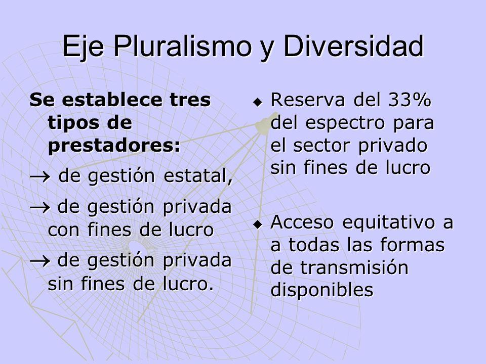Eje Pluralismo y Diversidad Se establece tres tipos de prestadores: de gestión estatal, de gestión estatal, de gestión privada con fines de lucro de g