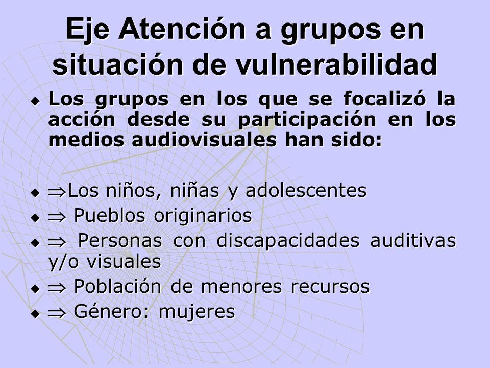 Eje Atención a grupos en situación de vulnerabilidad Los grupos en los que se focalizó la acción desde su participación en los medios audiovisuales ha