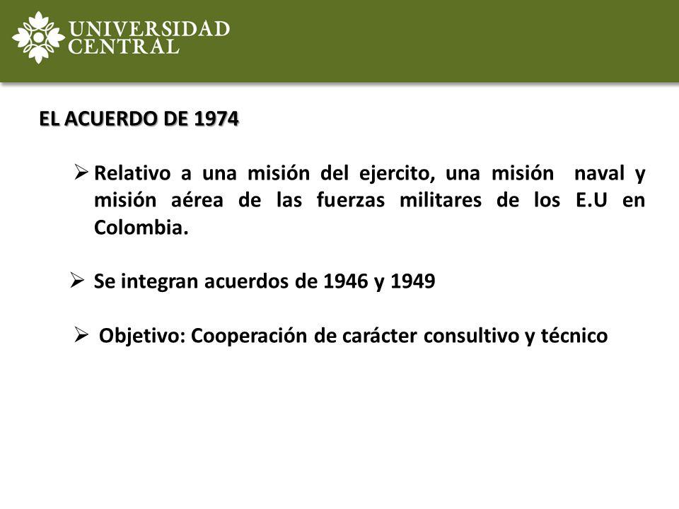 EL ACUERDO DE 1974 Relativo a una misión del ejercito, una misión naval y misión aérea de las fuerzas militares de los E.U en Colombia. Se integran ac