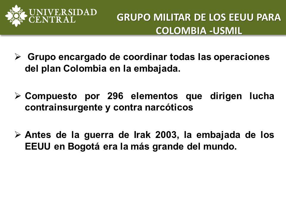 Grupo encargado de coordinar todas las operaciones del plan Colombia en la embajada. Compuesto por 296 elementos que dirigen lucha contrainsurgente y