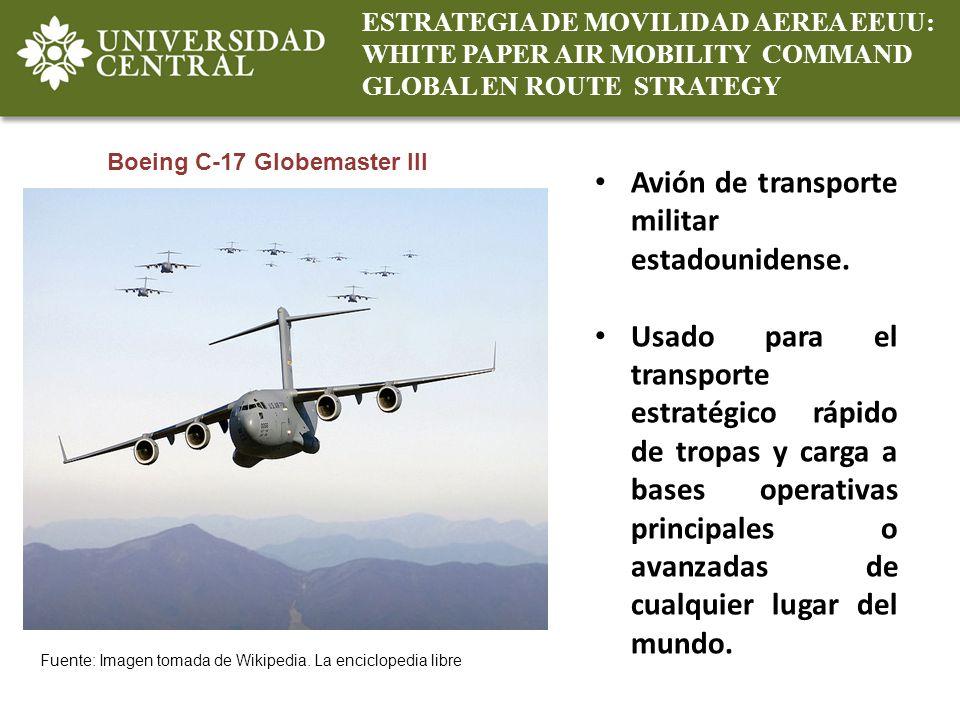 ESTRATEGIA DE MOVILIDAD AEREA EEUU: WHITE PAPER AIR MOBILITY COMMAND GLOBAL EN ROUTE STRATEGY Boeing C-17 Globemaster III Fuente: Imagen tomada de Wik