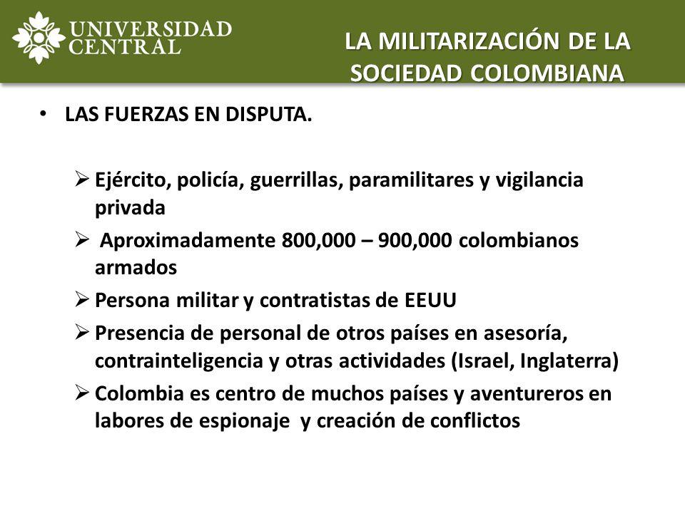 LAS FUERZAS EN DISPUTA. Ejército, policía, guerrillas, paramilitares y vigilancia privada Aproximadamente 800,000 – 900,000 colombianos armados Person