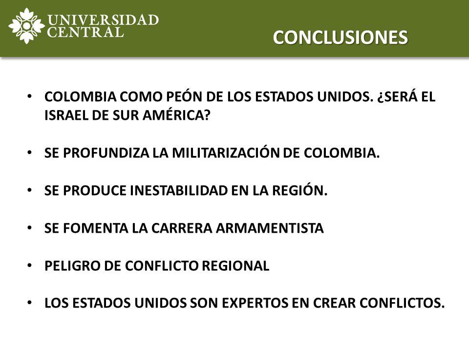 COLOMBIA COMO PEÓN DE LOS ESTADOS UNIDOS. ¿SERÁ EL ISRAEL DE SUR AMÉRICA? SE PROFUNDIZA LA MILITARIZACIÓN DE COLOMBIA. SE PRODUCE INESTABILIDAD EN LA