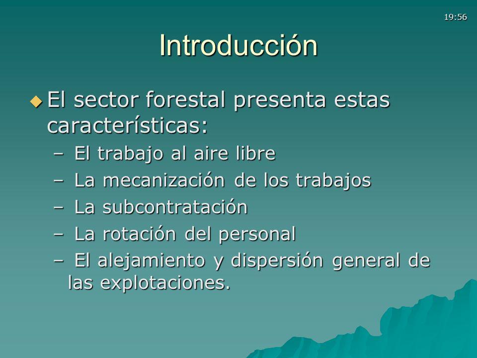 19:56Introducción El sector forestal presenta estas características: El sector forestal presenta estas características: – El trabajo al aire libre – L