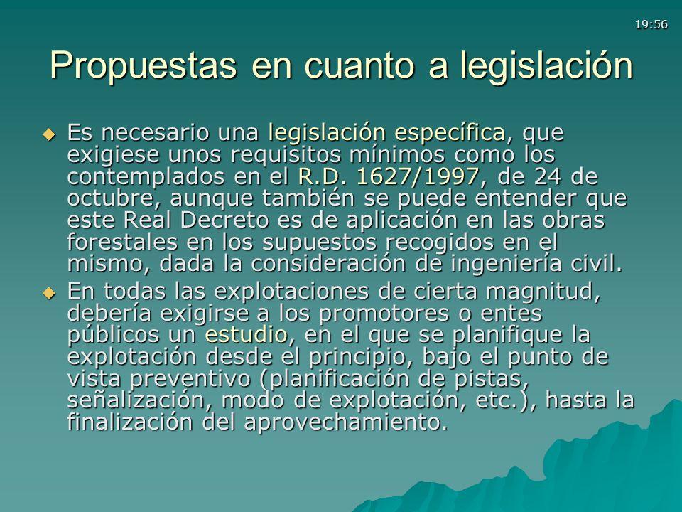 19:56 Propuestas en cuanto a legislación Es necesario una legislación específica, que exigiese unos requisitos mínimos como los contemplados en el R.D