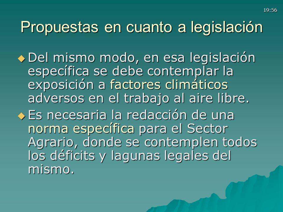 19:56 Propuestas en cuanto a legislación Del mismo modo, en esa legislación específica se debe contemplar la exposición a factores climáticos adversos