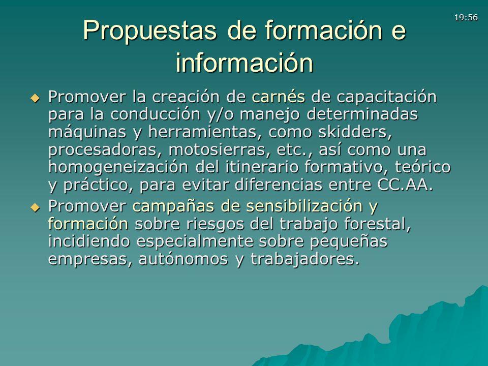 19:56 Propuestas de formación e información Promover la creación de carnés de capacitación para la conducción y/o manejo determinadas máquinas y herra
