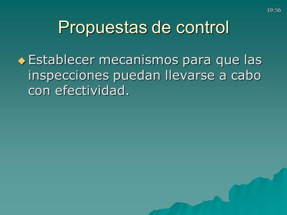 19:56 Propuestas de control Establecer mecanismos para que las inspecciones puedan llevarse a cabo con efectividad. Establecer mecanismos para que las