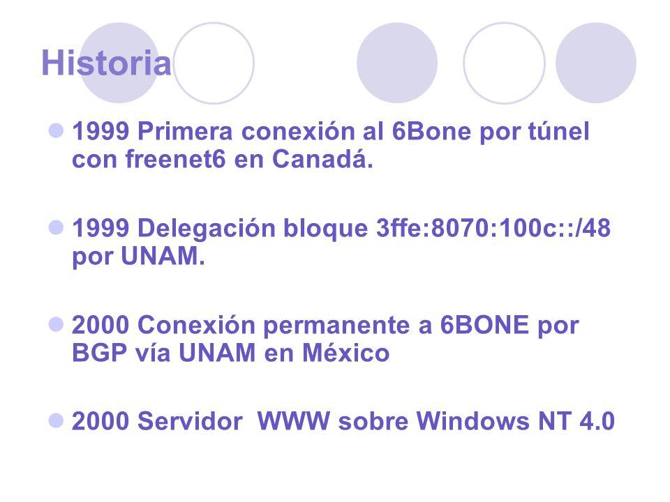Historia 1999 Primera conexión al 6Bone por túnel con freenet6 en Canadá. 1999 Delegación bloque 3ffe:8070:100c::/48 por UNAM. 2000 Conexión permanent