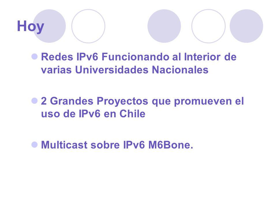 Hoy Redes IPv6 Funcionando al Interior de varias Universidades Nacionales 2 Grandes Proyectos que promueven el uso de IPv6 en Chile Multicast sobre IP