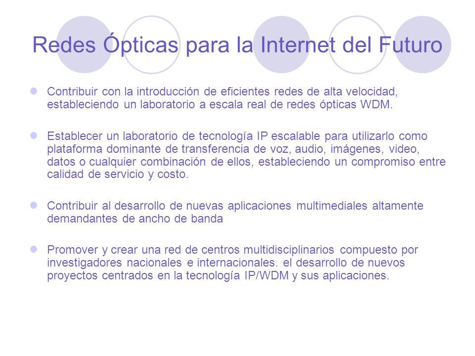 Redes Ópticas para la Internet del Futuro Contribuir con la introducción de eficientes redes de alta velocidad, estableciendo un laboratorio a escala