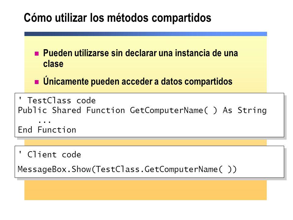 Cómo utilizar los métodos compartidos Pueden utilizarse sin declarar una instancia de una clase Únicamente pueden acceder a datos compartidos ' TestCl