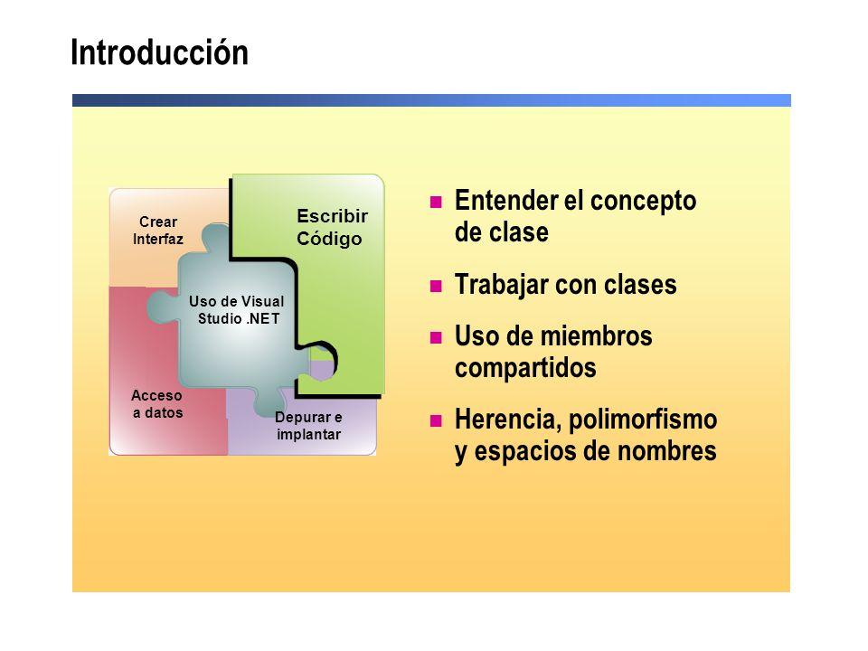 Introducción Entender el concepto de clase Trabajar con clases Uso de miembros compartidos Herencia, polimorfismo y espacios de nombres Debug and Depl
