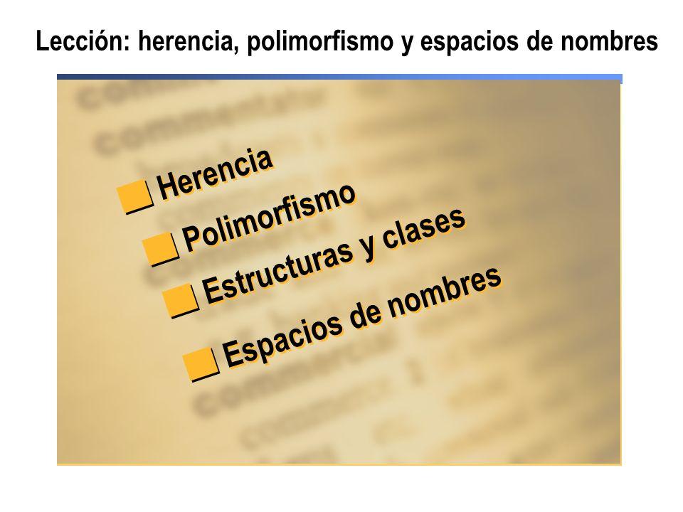 Lección: herencia, polimorfismo y espacios de nombres Herencia Polimorfismo Estructuras y clases Espacios de nombres