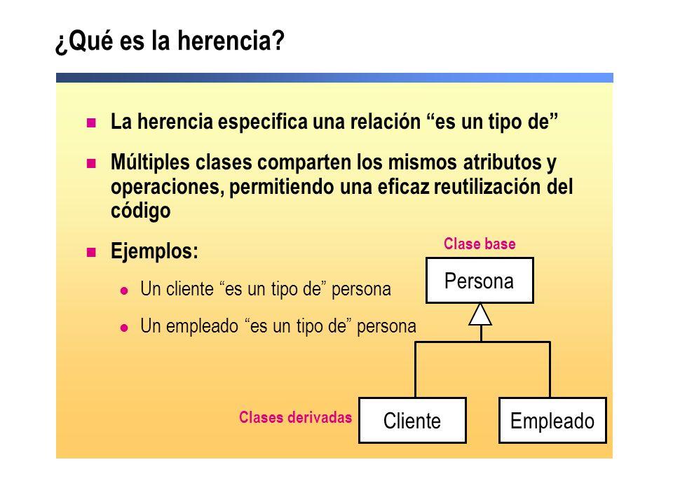 ¿Qué es la herencia? La herencia especifica una relación es un tipo de Múltiples clases comparten los mismos atributos y operaciones, permitiendo una