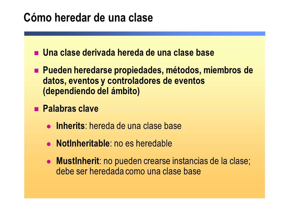 Cómo heredar de una clase Una clase derivada hereda de una clase base Pueden heredarse propiedades, métodos, miembros de datos, eventos y controladore