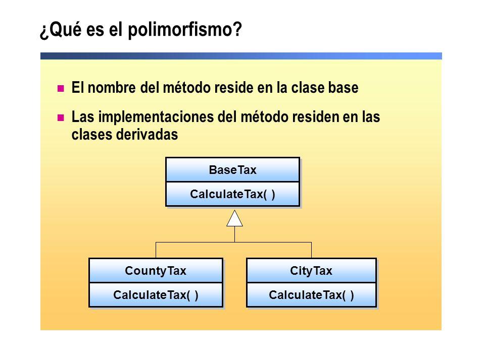 ¿Qué es el polimorfismo? El nombre del método reside en la clase base Las implementaciones del método residen en las clases derivadas BaseTax Calculat