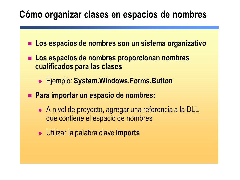 Cómo organizar clases en espacios de nombres Los espacios de nombres son un sistema organizativo Los espacios de nombres proporcionan nombres cualific