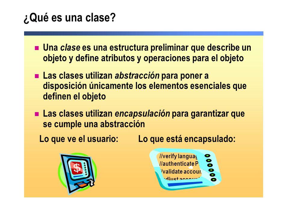Una clase es una estructura preliminar que describe un objeto y define atributos y operaciones para el objeto Las clases utilizan abstracción para pon
