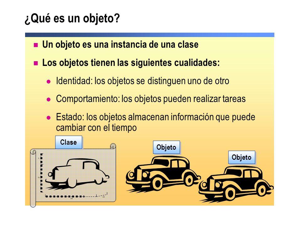 ¿Qué es un objeto? Un objeto es una instancia de una clase Los objetos tienen las siguientes cualidades: Identidad: los objetos se distinguen uno de o