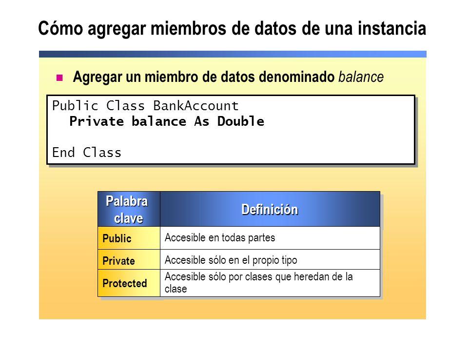 Cómo agregar miembros de datos de una instancia Agregar un miembro de datos denominado balance Public Class BankAccount Private balance As Double End